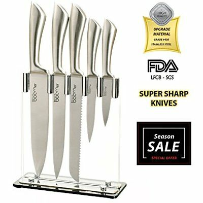 6 Pc Stainless Steel Chef Knives Block Set 5 Acrylic Stand Kitchen Black