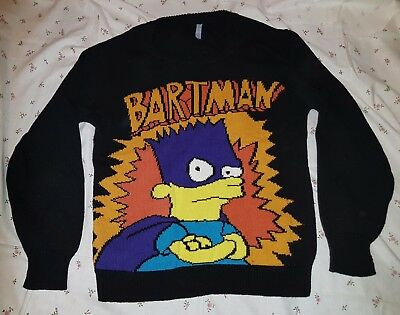 Vtg Retro The Simpsons Bartman Bart Extra Small Jumper 80s 90s Jeremy Scott