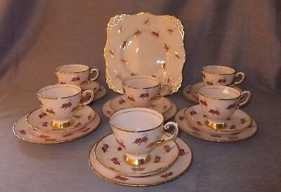 Vintage Tuscan China Pink Windswept Tea Set 19 pieces