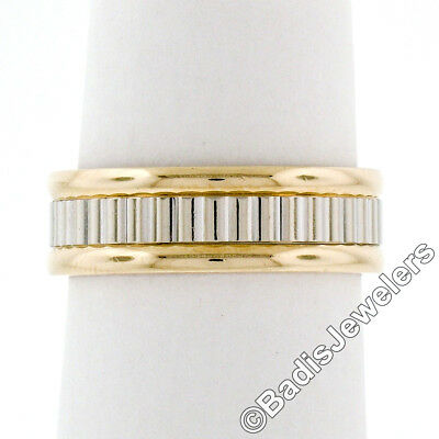 Solid 14K Yellow & White Gold 5.80mm Coin Edge Ribbed Eternity Band Ring Size 6