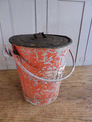 Antique galvanised red fire bucket with lid