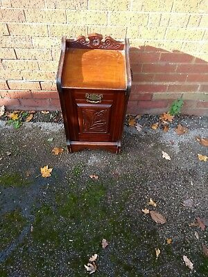 antique old wooden log box with drop down front