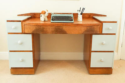 Mid Century Modern Desk, Bird's eye maple desk, Large wooden desk