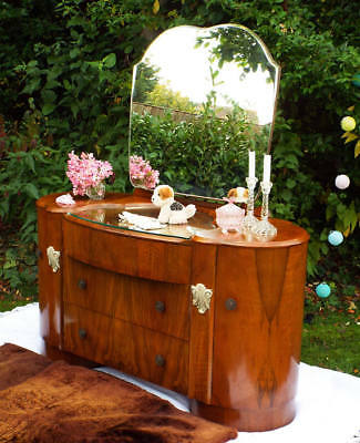 Antique Furniture 1930s Art deco dressing table Antique walnut drawers mirror