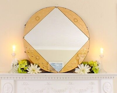 Art Deco Round Feature Wall Mirror, Colored Panels, Peach Copper Over Mantle