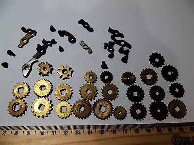 Vintage Clock Parts Assorted Ratchet Wheels And Clicks Fusee French British Etc