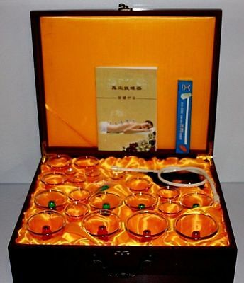 LUXURY 24 Pcs Wooden Case Hujamah Magnatic Cupping Tradtional Chinese Wet Dry