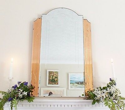 Art Deco Feature Wall Mirror with Colored Panels, Peach Copper OverMantle
