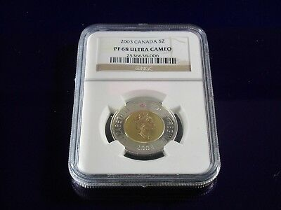 Ngc - 2003 Canada $2.00 - Pf68 Ultra Cameo ( Toonie  - Gilded Silver  Coin )