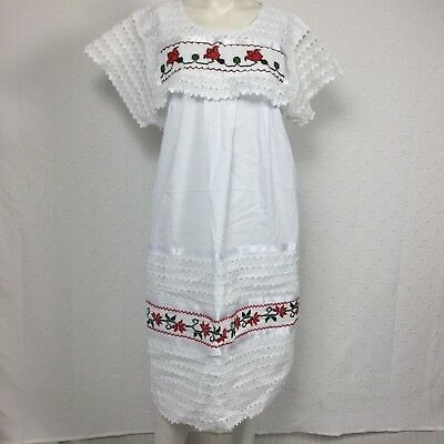 Mexican Women's Embroidered Oaxacan Peasant Dress One Size