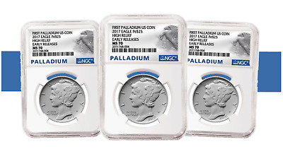 (5) FIVE 2017 1 oz First Palladium High Relief American Eagles NGC MS 70 ER