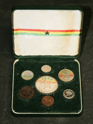 1958 Ghana Coin Set - Silver 10 Shilling Coin & 6 Others - Original Box