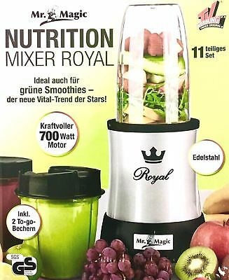 Mr. Magic Nutrition Mixer Royal Standmixer 700W Smoothie Maker 11tlg. Edelstahl