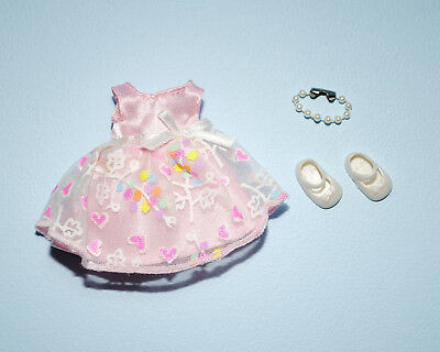 Pink & White KELLY Floral Dress w/ Faux Pearl Necklace & Shoes Genuine BARBIE