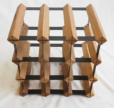 12 Bottle Wine Rack Timber And Black Painted Steel