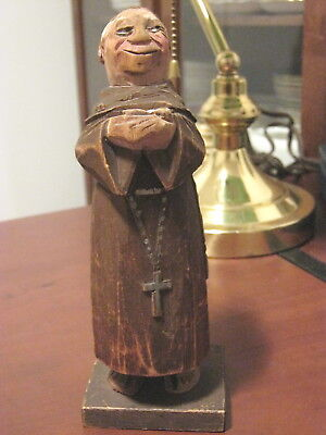 Antique Trygg Family Carvers Monk Preist Figurine Signed 1934 Canada