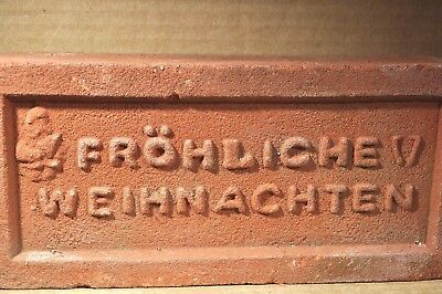 "Antique Holiday Brick ""frohliche Weihnachten"" W/ Santa Klause Made By Glen Gery"