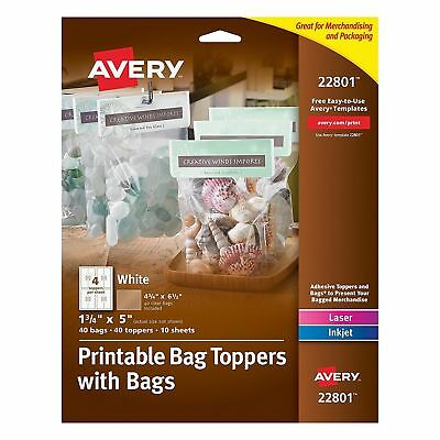 Avery Printable Bag Toppers with Bags, Pack of 40 ~ 22801 ~ New ~
