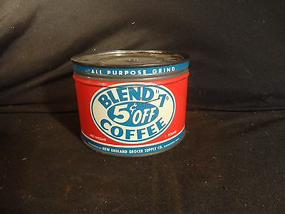 """Vintage 1 Lb. Key Wind Blend """"7""""  Coffee Can Tin Worcester Mass Correct Lid"""