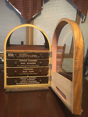 "ANTIQUE ""LA CROSS"" DRUG STORE DISPLAY CASE w/ARCH TOP SLANT FRONT & DOOR ON REAR"