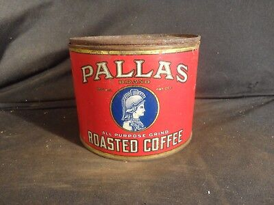 Vintage 1 Lb. Pry Top Pallas Coffee Can Tin  Ridenour- Baker Grocers Kc
