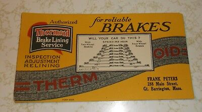 Vintage Thermoid Brake Lining Service F Peters Gt Barrington, Mass   Ink Blotter