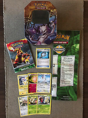 Pokemon Mixed Pack 7 Cards Collector Tin Rule Book & Card List and Playmat