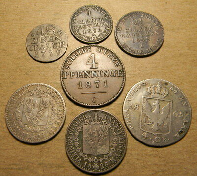 Germany Prussia 7 coin lot from 1779 to 1872