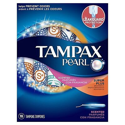 Tampax Pearl Plastic Fresh Scent Tampons, Super Plus Absorbency, 18 Count