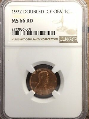 RARE ERROR 1972 Doubled Die Obverse Lincoln Cent - NGC MS66 RD **FREE SHIPPING**