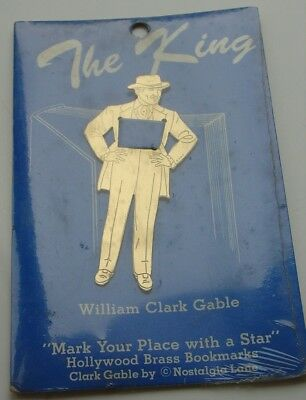 Vtg Nostalgia Lane Hollywood Brass BOOKMARK William Clark Gable Sealed in Pack