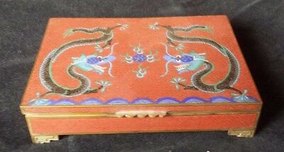 Fine Chinese Antique Cloisonne Box Playing Card Case - Imperial Dragon Very Rare