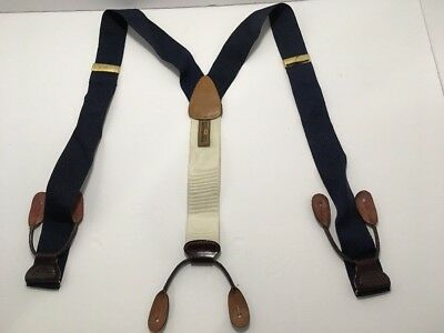 Trafalgar Suspenders Braces Navy Blue with Brown Back leather USA CLASSY
