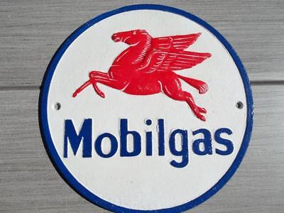 Cast Iron Mobilgas Flying Horse Red Pegasus Sign Plaque Gas Oil Station Sign