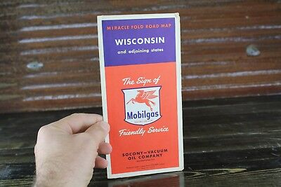 Vintage Original Miracle Fold Road Map Mobil Mobilgas Socony Gas Oil Wisconsin