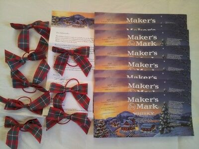 Maker's Mark 2017 Ambassador Gifts - Lot of (8) Bowties + (8) Bottle Labels NEW