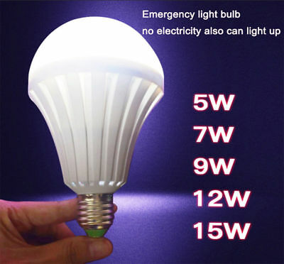 LED E27 Lamp Energy Saving Intelligent Emergency Bulb Light Rechargeable Lamps