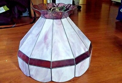 Vintage Stained Glass Swag Chandelier Mauve, Red Wine,Purple Tones Scallops Tier
