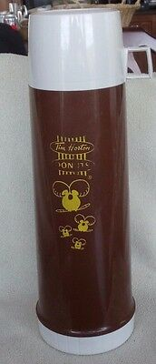 "Tim Horton Coffee Donuts Plastic Thermos Timbits 13.5"" Brown Vintage & 2 Cups"
