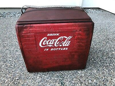 """Vintage Coca Cola Metal Cooler - Retro Coke Cooler with Tray Insert 17""""X16""""X13"""""""