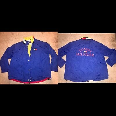 Vintage 90s Tommy Hilfiger Sailing Yacht Gear Jacket Color Spell Out Big Logo XL