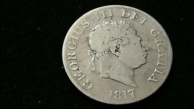 1817 . Great Britain . Half Crown . 1/2 cr . Large Old World Silver Coin