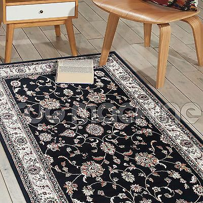 NIKOLINA BLACK CREAM ALLOVER CLASSIC TRADITIONAL RUG RUNNER 80x300cm **NEW**