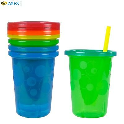 New 4 Pack Spill-Proof Plastic Cups With Lids Straws Tumbler Sippy Toddler Kids