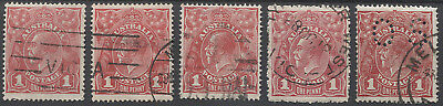 AUSTRALIA  5x Die II 1d red KGV defins all in VG to excellent condition incl OS