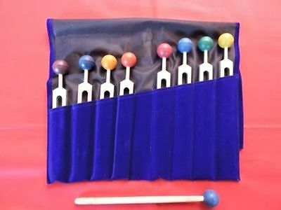8Pc Harmonic Spectrum Healing Tuning Forks+removable matching Color balls handle
