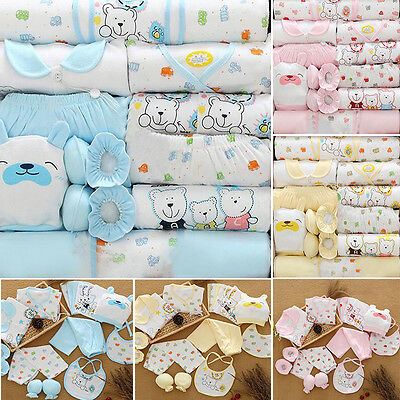 US New Baby newborn Cotton Outfit Sets Boys Girls Layette 0-3 Months (18pcs/set)