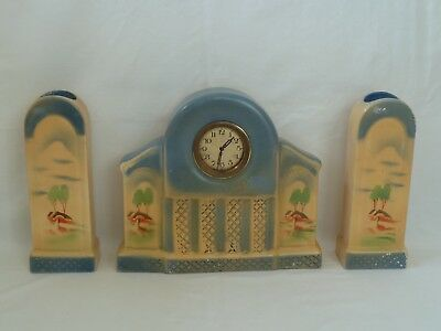 Art Deco Mantel clock Trio with Matching Vases