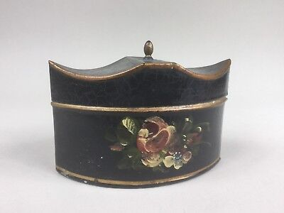 19th Century Navette Shaped Tole Ware Tin Tea Caddy