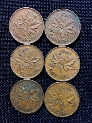 Value - 6 Nice Canadian Cents: 1951, 1952, 1953, 1956, 1957, 1957